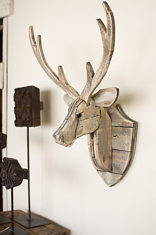 Holiday Recycled Wooden Deer Head Wall Hanging, , large