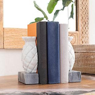 Surya Skara Stone Pineapple Book End (set Of 2), , rollover