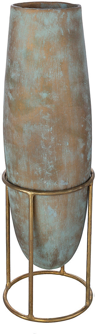 Surya Meena Tall Green Metal Vase, , large