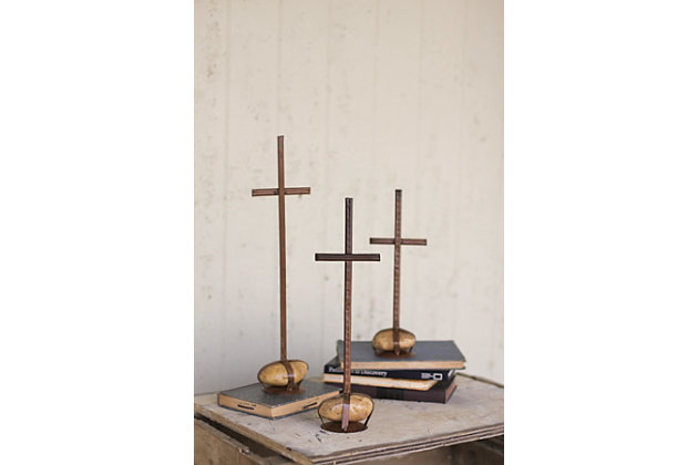 Holiday Set of 3 Scrap Metal Crosses with Caged Rock Bases, , large