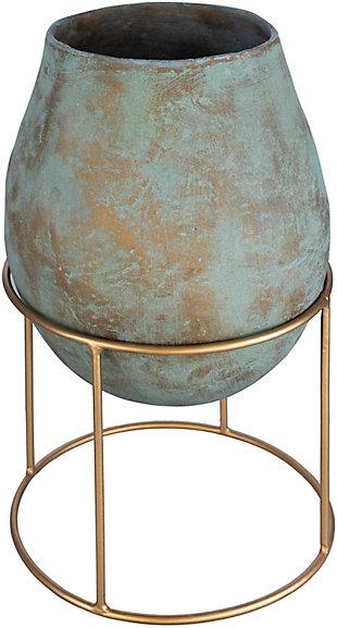 Surya Meena Short Green Metal Vase, , large