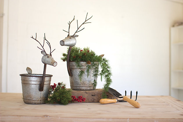 Holiday Set of Two Metal Deer Planters, , large
