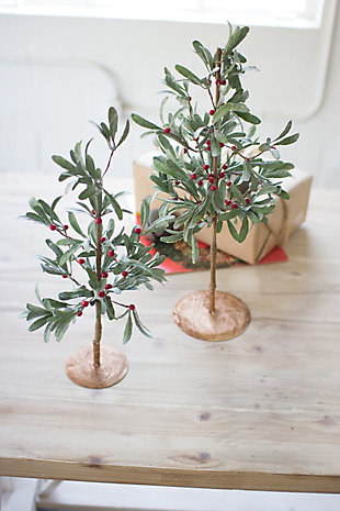 Holiday Set of Two Artificial Mistletoe Trees, , large