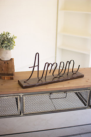 "Holiday Recycled Metal ""Amen"" on a Stand, , rollover"