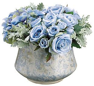 Assorted Blue Rose Floral Arrangement in Pot, , rollover