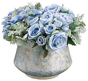 Assorted Blue Rose Floral Arrangement in Pot, , large