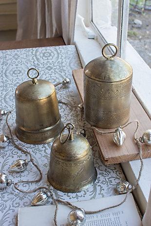 Holiday Set of Three Brass Finish Bells, , large