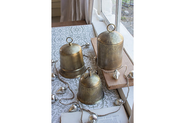 Holiday Set of Three Brass Finish Bells, , large