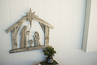 Holiday Recycled Wood Nativity Wall Art, , large