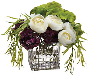 "8"" Hydrangea and Ranunculus Arrangement, , rollover"