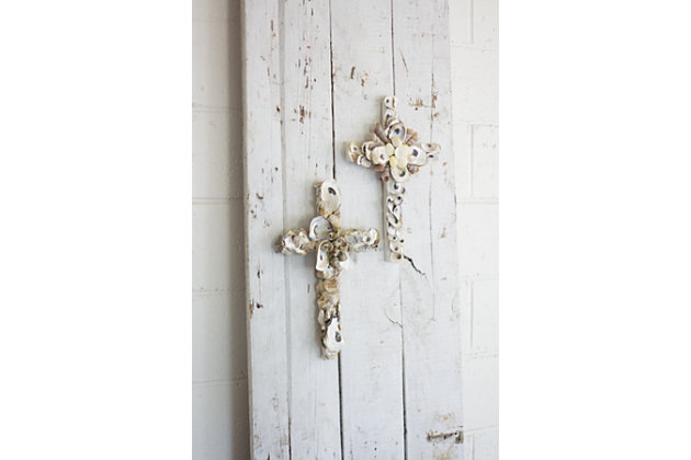 Holiday Set of Two Oyster Shell Crosses, , large