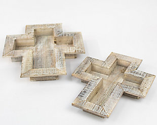 Holiday Set of 2 Wooden Cross Trays, , large
