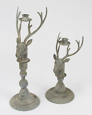 Holiday Set of 2 Deer Taper Candle Holder, , large