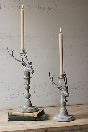 Holiday Set of 2 Deer Taper Candle Holder, , rollover