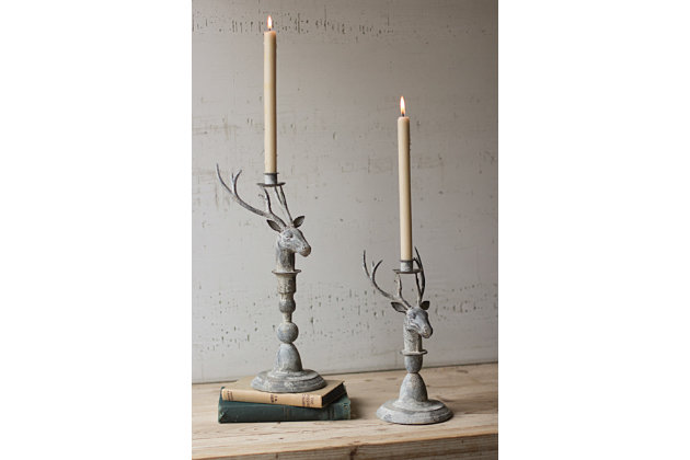 Holiday Set of 2 Deer Taper Candle Holder, , large