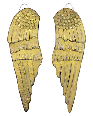 Holiday Set of 2 Painted Wooden Angel Wings, , large