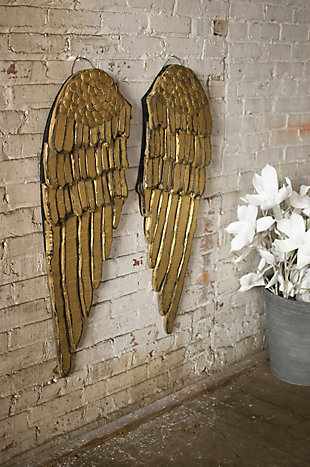Holiday Set of 2 Painted Wooden Angel Wings, , rollover