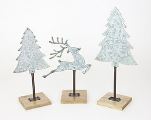 Holiday Set of 3 Galvanized Trees and Deer with Brass Dot Detail, , large