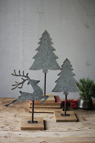 Holiday Set of 3 Galvanized Trees and Deer with Brass Dot Detail, , rollover