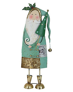 Holiday Painted Metal Santa with Tree, , large