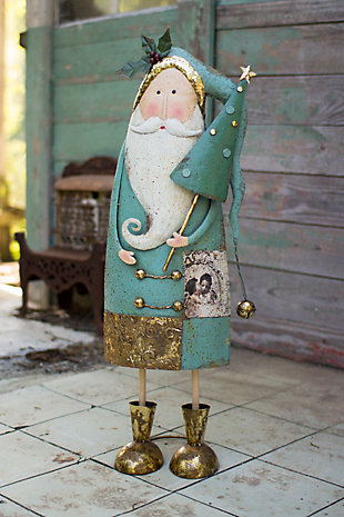 Holiday Painted Metal Santa with Tree, , rollover
