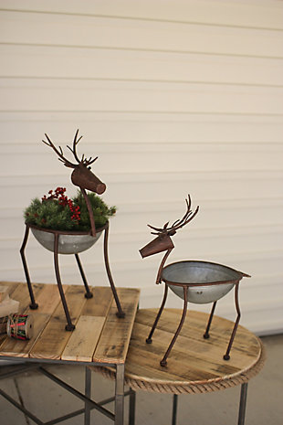 Holiday Set of Two Metal Deer Planters, , rollover