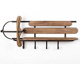 Holiday Wood and Iron Sleigh Shelf, , large