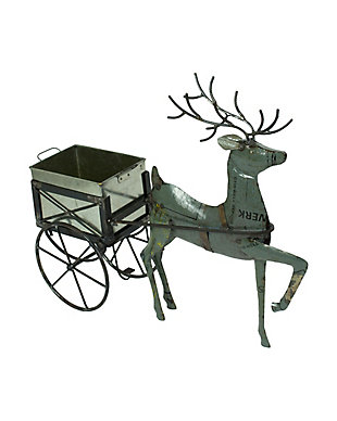 Holiday Recycled Metal Deer with Drink Tub Cart, , large