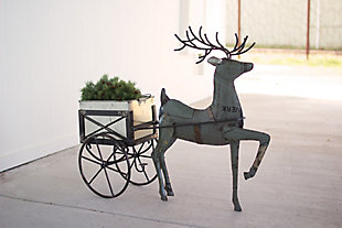 Holiday Recycled Metal Deer with Drink Tub Cart, , rollover