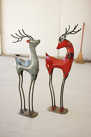 Holiday Set of Two Recycled Red Iron Deer, , rollover