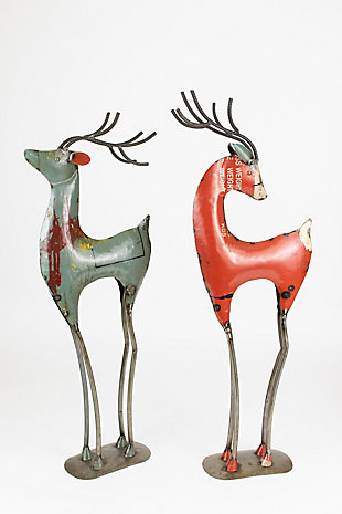 Holiday Set of Two Recycled Red Iron Deer, , large