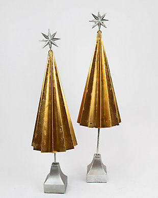 Holiday Set of 2 Folded Gold-finished Metal Trees, , large