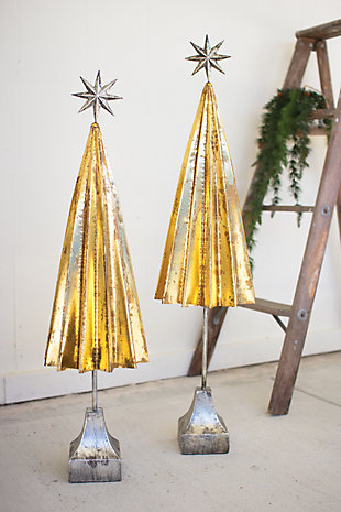 Holiday Set of 2 Folded Gold-finished Metal Trees, , rollover