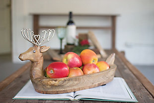 Holiday Hand Carved Mango Wood Reindeer Bowl with Metal Antlers, , rollover