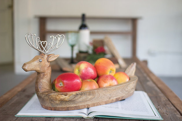 Holiday Hand Carved Mango Wood Reindeer Bowl with Metal Antlers, , large