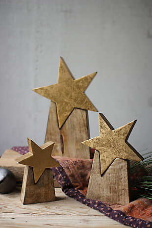Holiday Set of Three Wooden Star on Base, , rollover