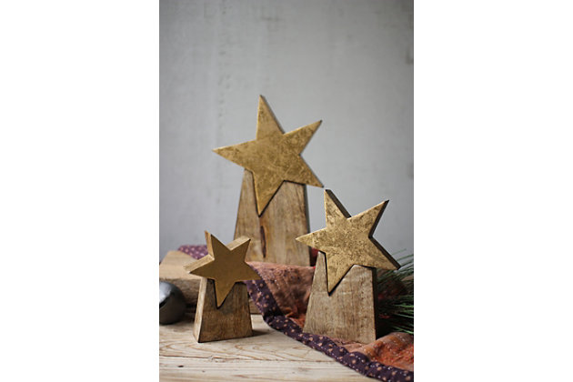 Holiday Set of Three Wooden Star on Base, , large