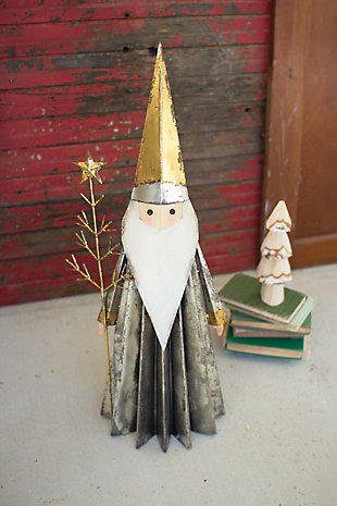 Holiday Santa Claus with Gold-finished Hat Holding Tree, , rollover