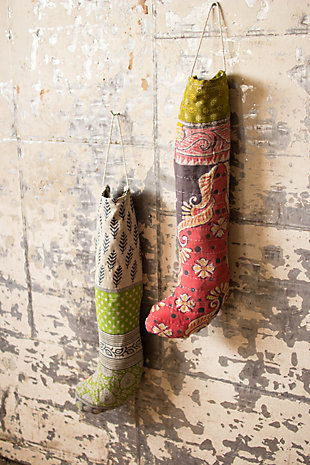 Holiday Set of Six Kantha Christmas Stocking, , rollover