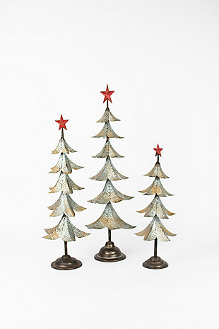 Holiday Set of Three Metal Trees With Red Star, , large