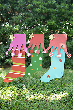 Holiday Set of Three Christmas Yard Art Stockings, , rollover