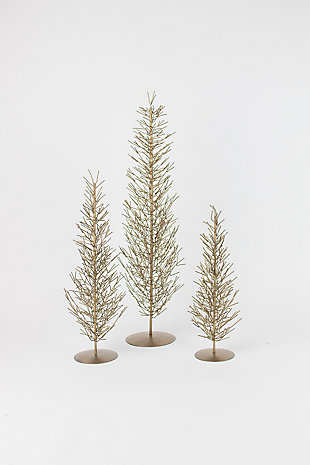 Holiday Set of 3 Brass Wire Trees, , large