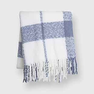 Evergrace Cortez Plaid Mohair Throw, Chambray Blue, rollover