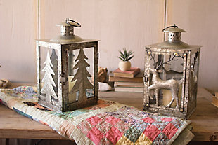 Holiday Galvanized Deer Lantern, , large