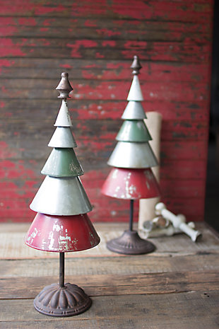 Holiday Set of Two Galvanized Red and Green Metal Trees, , rollover