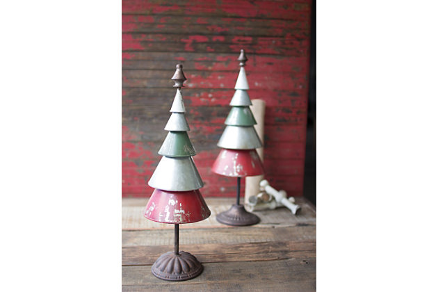 Holiday Set of Two Galvanized Red and Green Metal Trees, , large