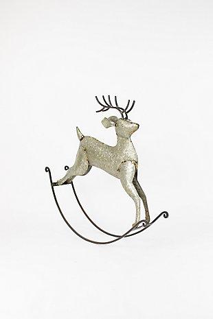 Holiday Rustic Zinc Rocking Deer, , large