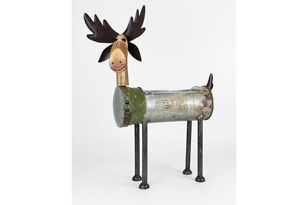Holiday Recycled Metal Moose Cooler/Planter, , large
