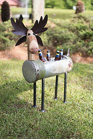 Holiday Recycled Metal Moose Cooler/Planter, , rollover