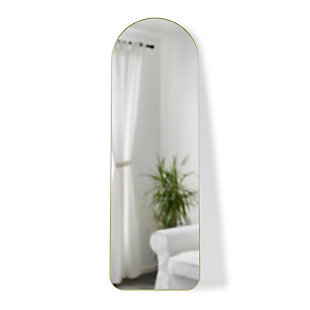 UMBRA Modern Arched Brass Framed Leaning Full Length Mirror, , large